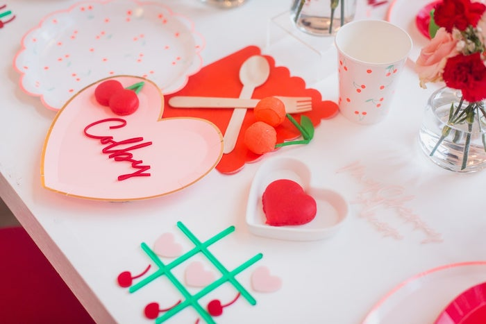 Valentine's Day Table Setting from a Cherry Love Party on Kara's Party Ideas | KarasPartyIdeas.com (5)