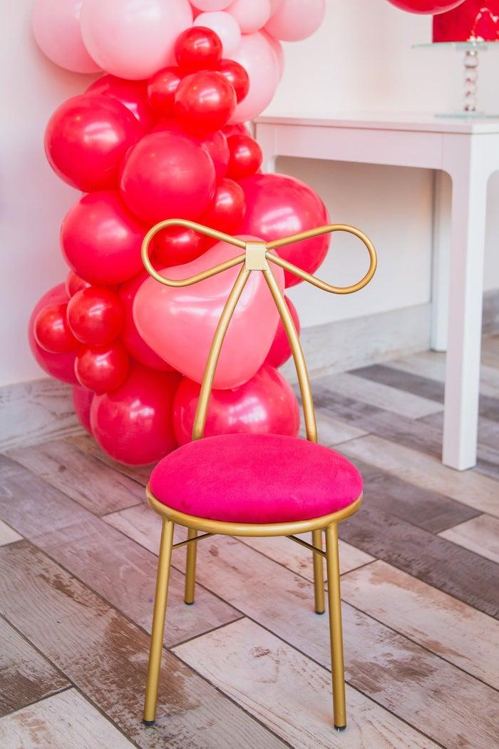 Bow Chair from a Cherry Love Party on Kara's Party Ideas | KarasPartyIdeas.com (4)