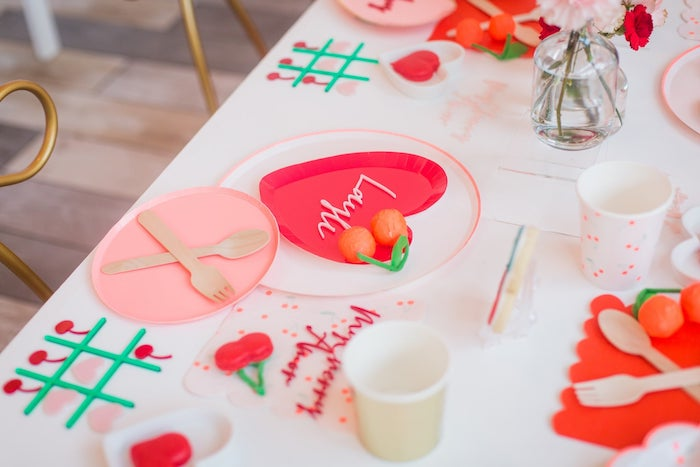Valentine's Day Table Setting from a Cherry Love Party on Kara's Party Ideas | KarasPartyIdeas.com (3)