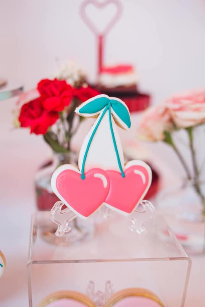 Twin Cherry Cookie from a Cherry Love Party on Kara's Party Ideas | KarasPartyIdeas.com (26)