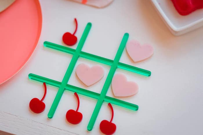 Valentine Tic-Tac-Toe Game from a Cherry Love Party on Kara's Party Ideas | KarasPartyIdeas.com (23)