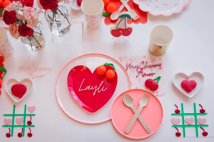 Valentine's Day Table Setting from a Cherry Love Party on Kara's Party Ideas | KarasPartyIdeas.com (19)