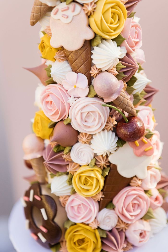 Ice Cream Themed Pastry Tower from a Drive-by Ice Cream Party on Kara's Party Ideas | KarasPartyIdeas.com (18)