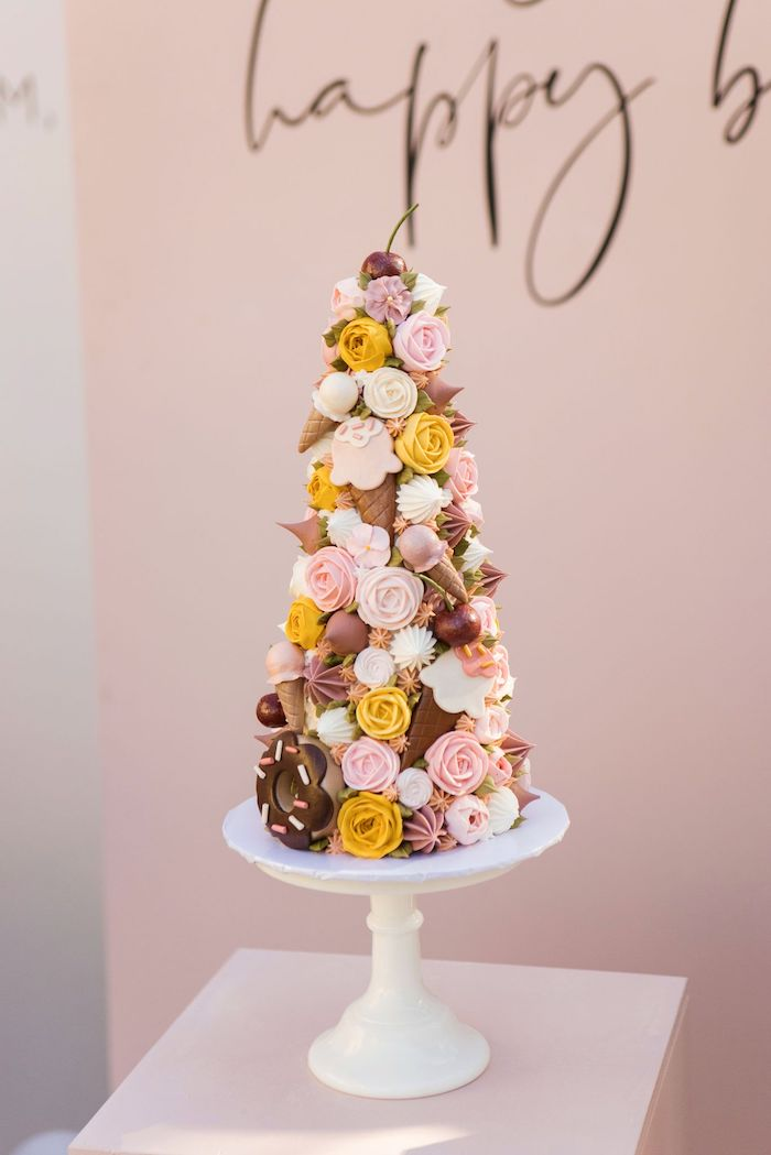 Ice Cream Themed Pastry Tower from a Drive-by Ice Cream Party on Kara's Party Ideas | KarasPartyIdeas.com (17)