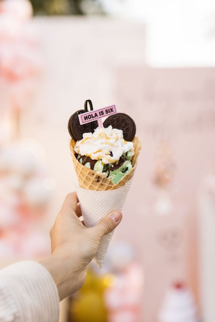 Personalized Ice Cream Cone from a Drive-by Ice Cream Party on Kara's Party Ideas | KarasPartyIdeas.com (13)