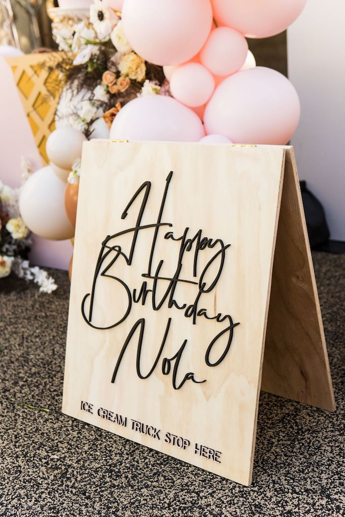 Custom Scripted Wood Sign from a Drive-by Ice Cream Party on Kara's Party Ideas | KarasPartyIdeas.com (10)