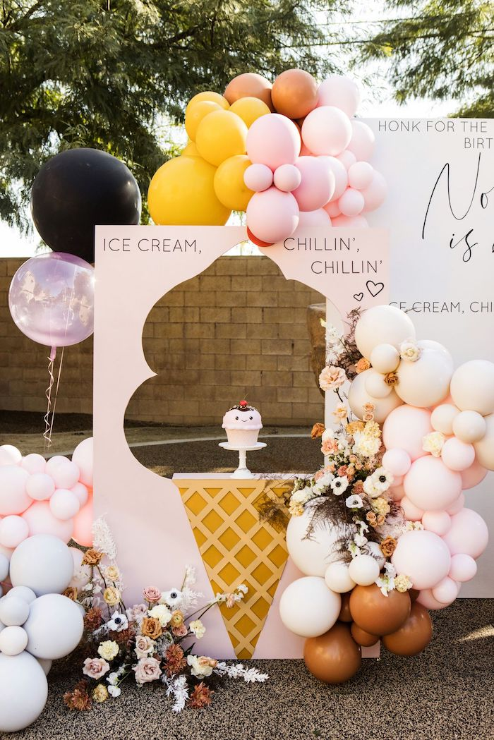 Ice Cream Cone-crafted Cake Pedestal + Backdrop from a Drive-by Ice Cream Party on Kara's Party Ideas | KarasPartyIdeas.com (9)