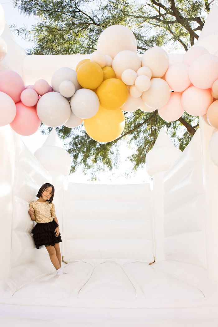 Bouncy House from a Drive-by Ice Cream Party on Kara's Party Ideas | KarasPartyIdeas.com (5)