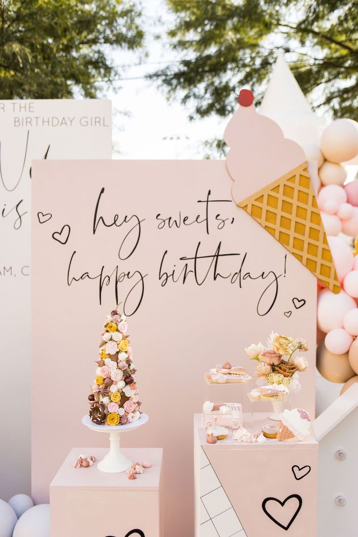 Ice Cream Themed Dessert Spread from an Drive-by Ice Cream Party on Kara's Party Ideas | KarasPartyIdeas.com (3)