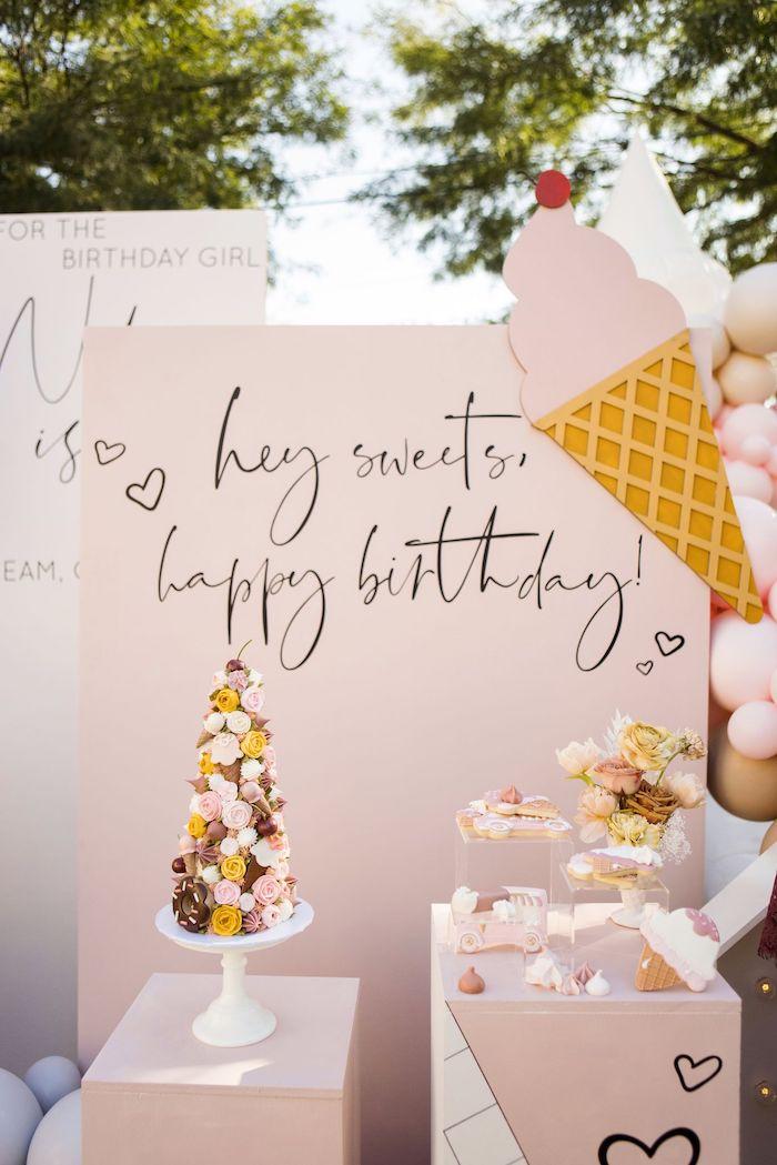 Ice Cream Themed Dessert Spread from a Drive-by Ice Cream Party on Kara's Party Ideas | KarasPartyIdeas.com (28)