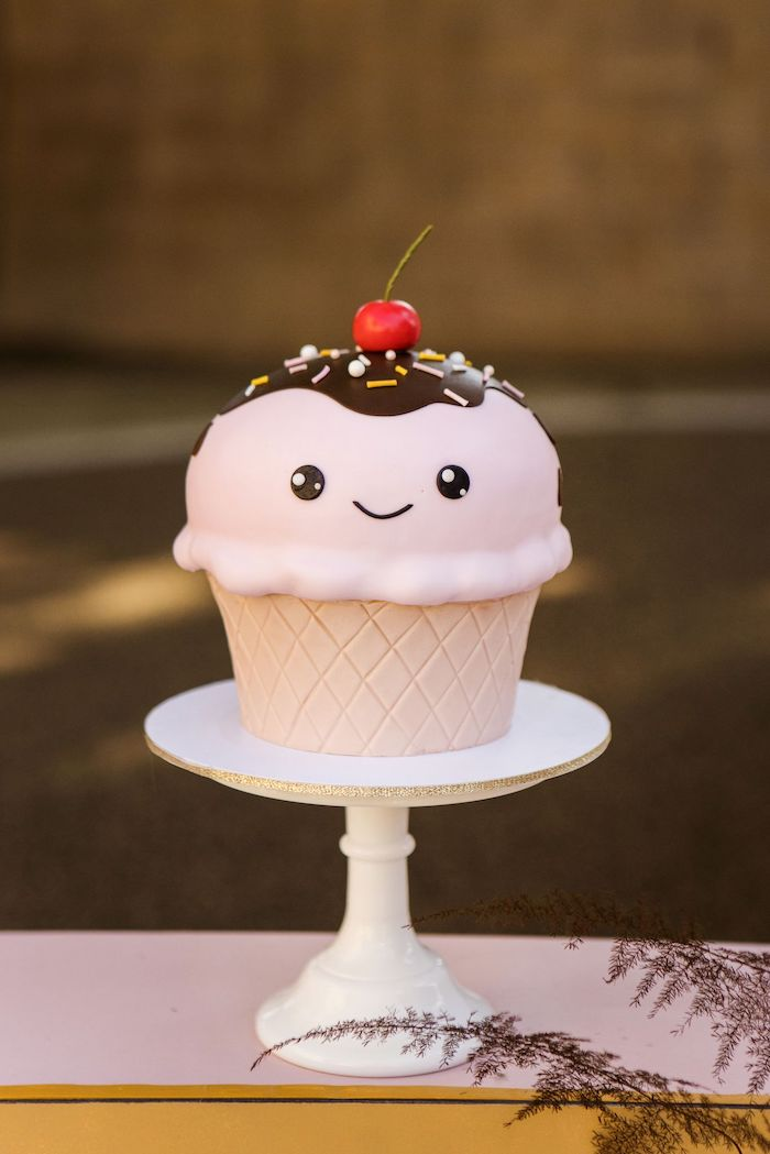 Mini Ice Cream Cone Birthday Cake from a Drive-by Ice Cream Party on Kara's Party Ideas | KarasPartyIdeas.com (25)