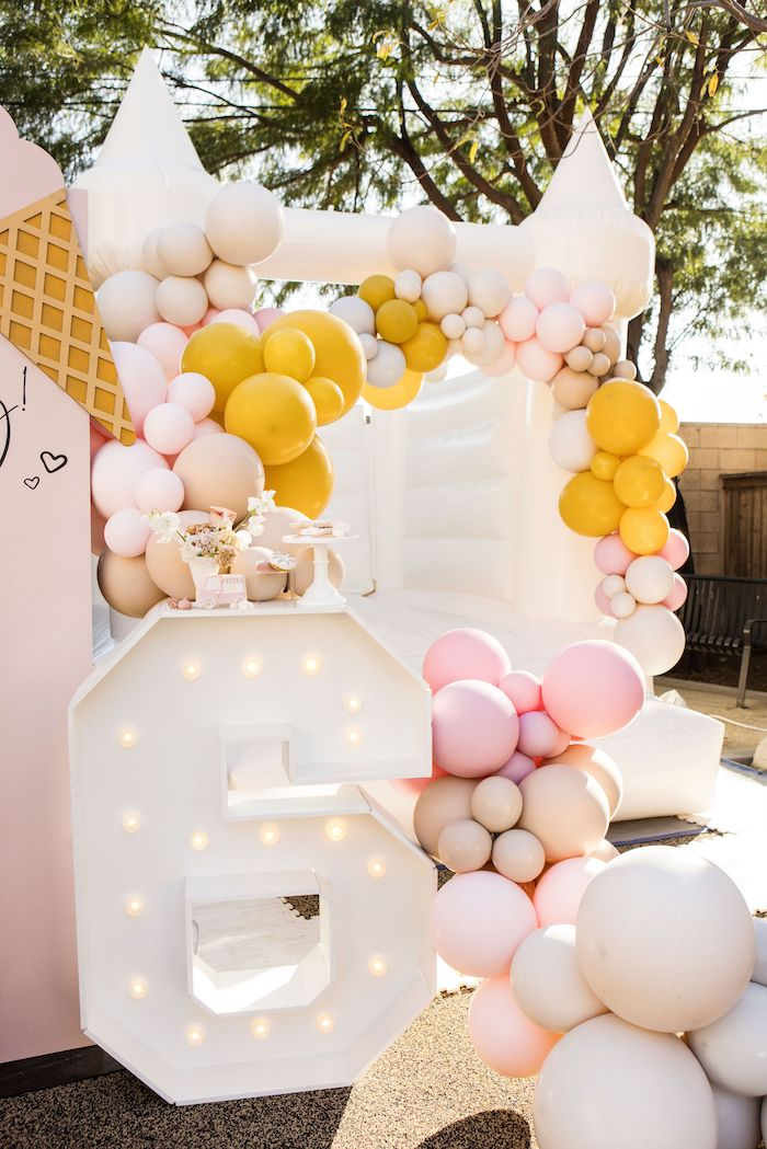 Marquee and Bounce House from a Drive-by Ice Cream Party on Kara's Party Ideas | KarasPartyIdeas.com (21)