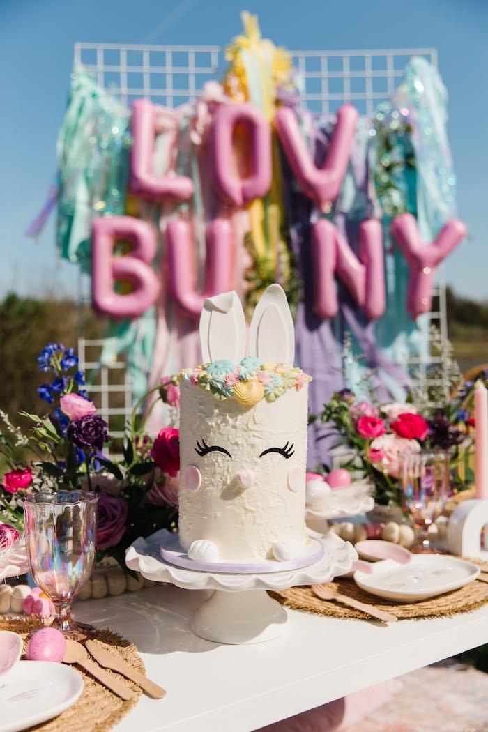Easter Bunny Cake from an Easter Love Bunny Party on Kara's Party Ideas | KarasPartyIdeas.com (6)
