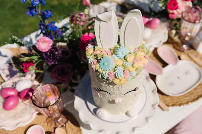 Easter Bunny Cake Top from an Easter Love Bunny Party on Kara's Party Ideas | KarasPartyIdeas.com (5)