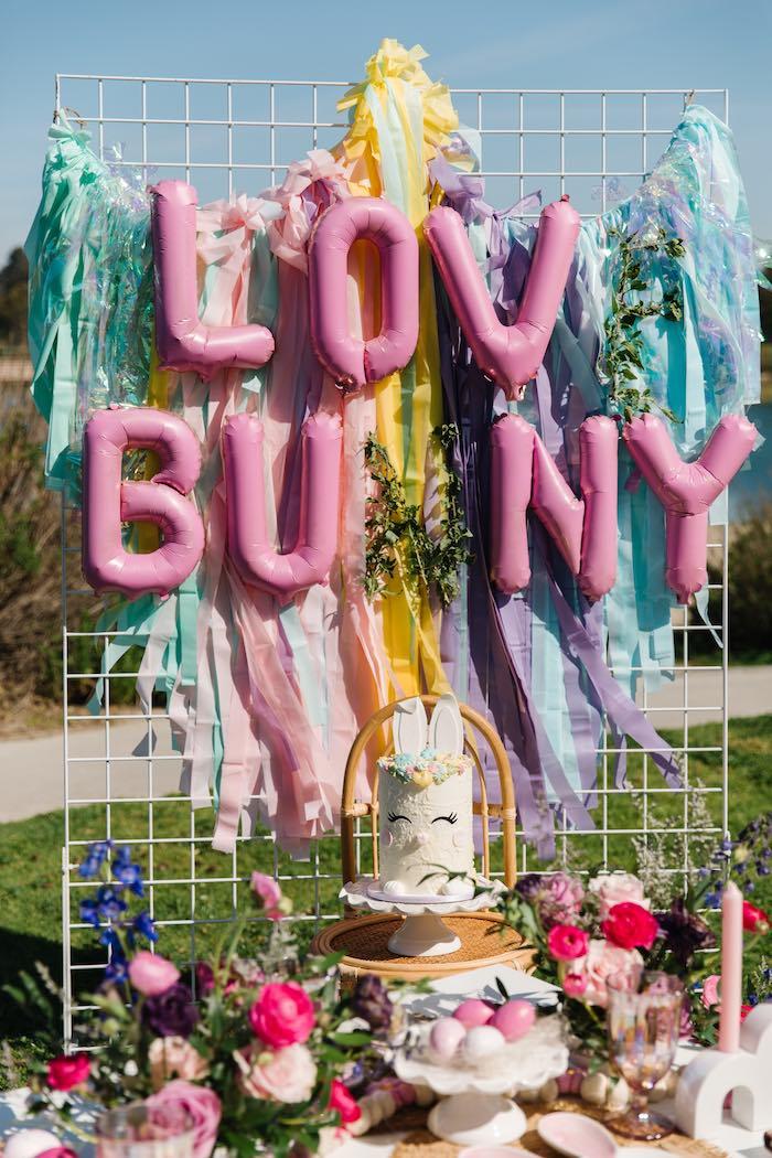 Love Bunny Balloon Banner + Tassel Grid Backdrop from an Easter Love Bunny Party on Kara's Party Ideas | KarasPartyIdeas.com (28)