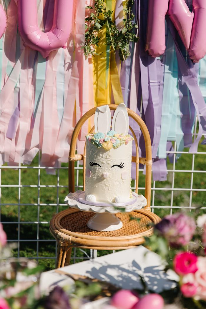 Bunny Cake from an Easter Love Bunny Party on Kara's Party Ideas | KarasPartyIdeas.com (27)
