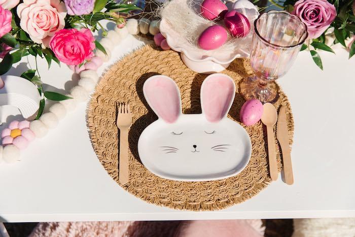 Bunny Plate Table Setting from an Easter Love Bunny Party on Kara's Party Ideas | KarasPartyIdeas.com (23)