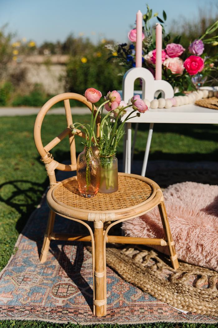 Bamboo Wicker Chair with Blooms from an Easter Love Bunny Party on Kara's Party Ideas | KarasPartyIdeas.com (22)
