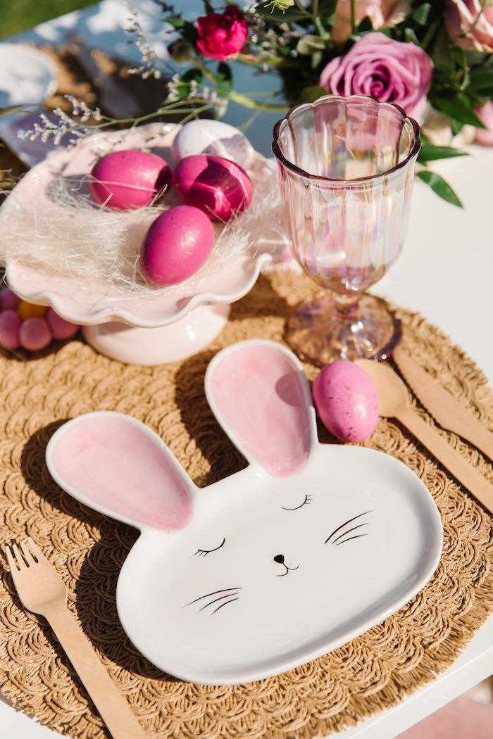 Bunny Plate Table Setting from an Easter Love Bunny Party on Kara's Party Ideas | KarasPartyIdeas.com (21)