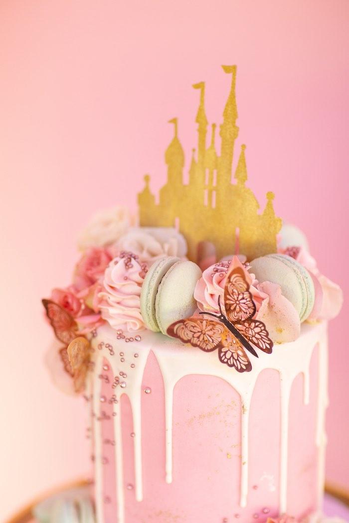 Disney Castle Drip Cake from an Elegant Disney Princess Party on Kara's Party Ideas | KarasPartyIdeas.com (21)