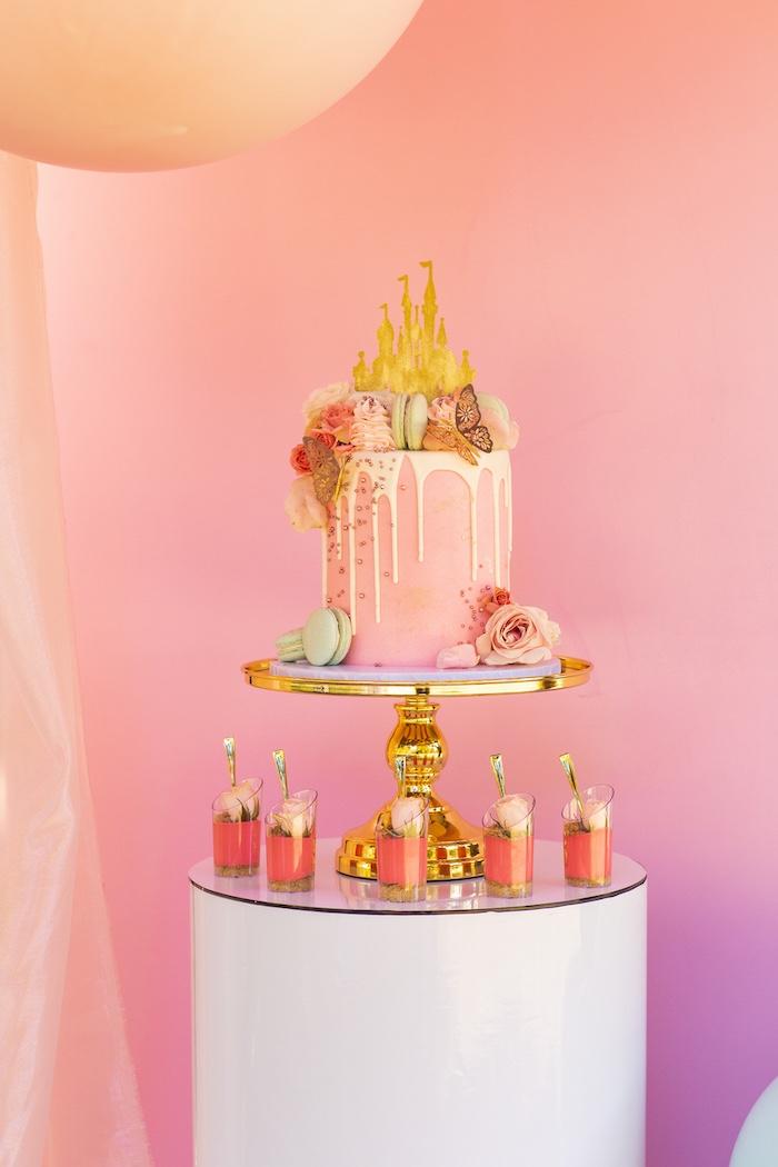 Disney Castle Drip Cake from an Elegant Disney Princess Party on Kara's Party Ideas | KarasPartyIdeas.com (20)