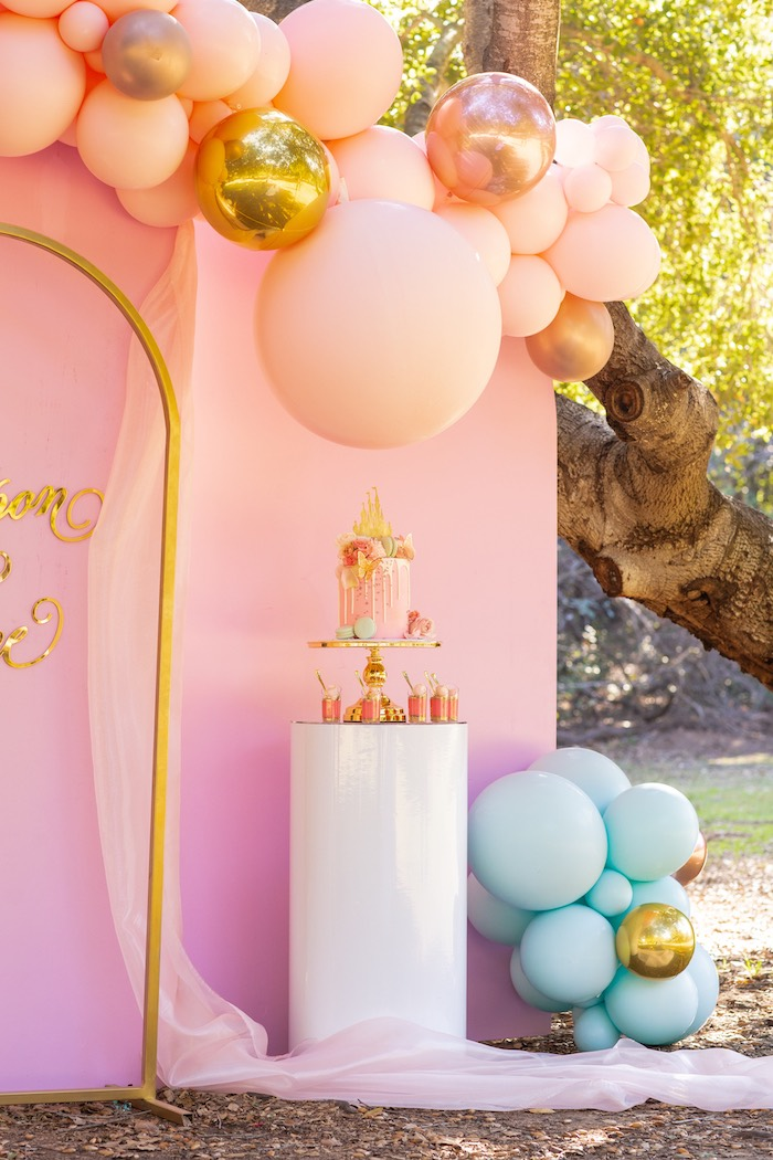 Balloon Garland Cake Pedestal from an Elegant Disney Princess Party on Kara's Party Ideas | KarasPartyIdeas.com (18)