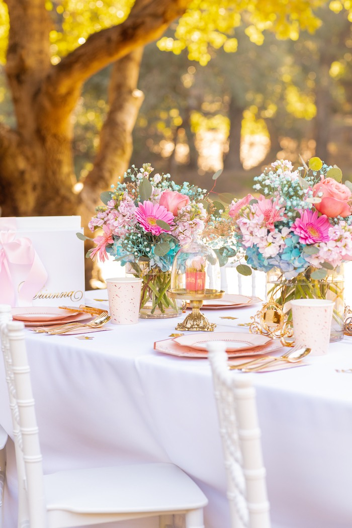 White + Pink Guest Table + Table Settings from an Elegant Disney Princess Party on Kara's Party Ideas | KarasPartyIdeas.com (17)