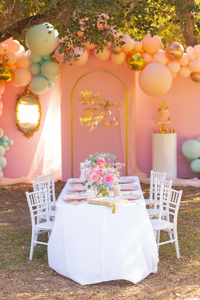 White + Pink Guest Table from an Elegant Disney Princess Party on Kara's Party Ideas | KarasPartyIdeas.com (16)