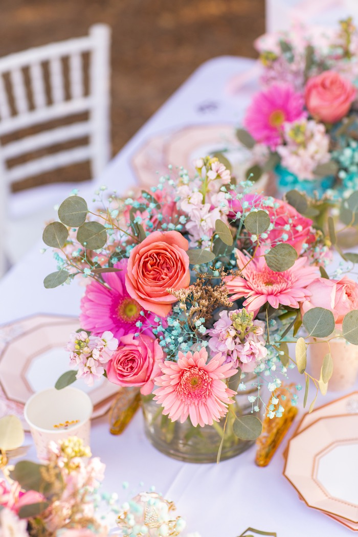 Guest Table Blooms from an Elegant Disney Princess Party on Kara's Party Ideas | KarasPartyIdeas.com (15)