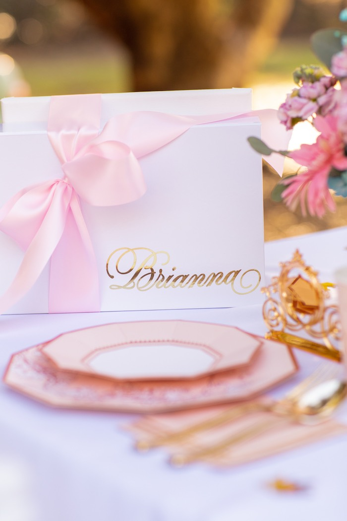 Personalized Gift Box from an Elegant Disney Princess Party on Kara's Party Ideas | KarasPartyIdeas.com (13)