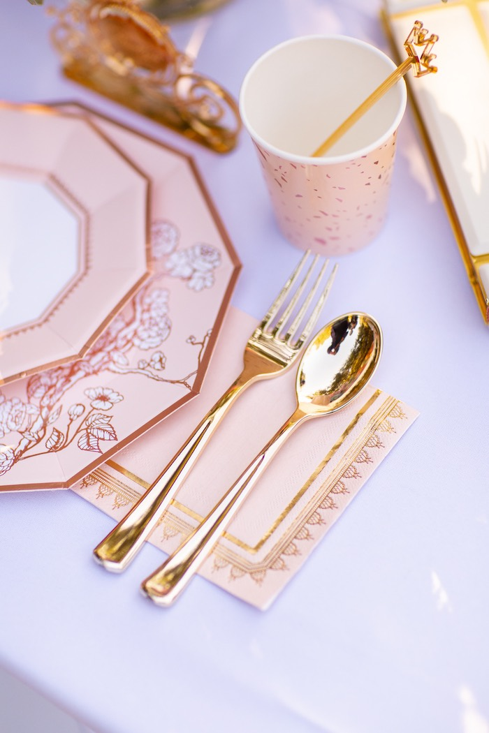 Pink + Gold Table Setting from an Elegant Disney Princess Party on Kara's Party Ideas | KarasPartyIdeas.com (12)