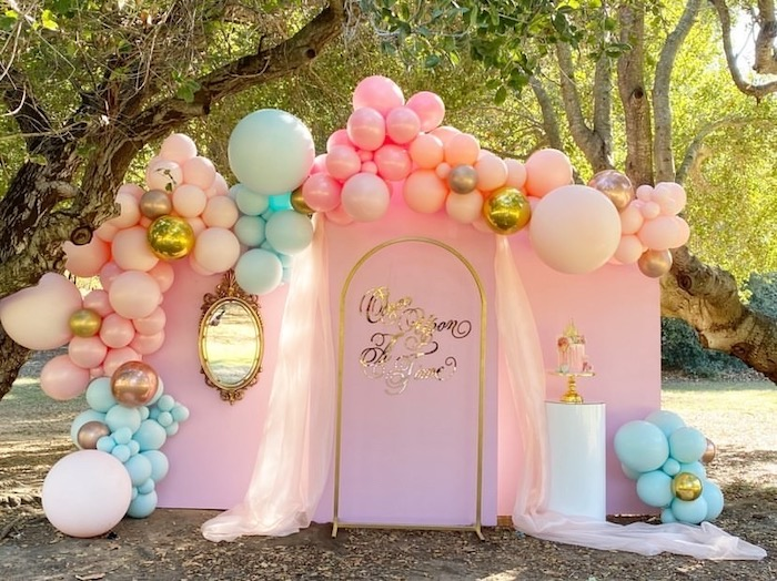 Once Upon A Time Panel Backdrop + Cake Pedestal from an Elegant Disney Princess Party on Kara's Party Ideas | KarasPartyIdeas.com (30)