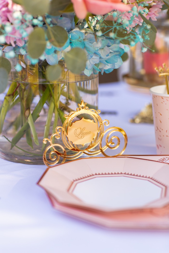 Acrylic Gold Carriage Place Card from an Elegant Disney Princess Party on Kara's Party Ideas | KarasPartyIdeas.com (10)