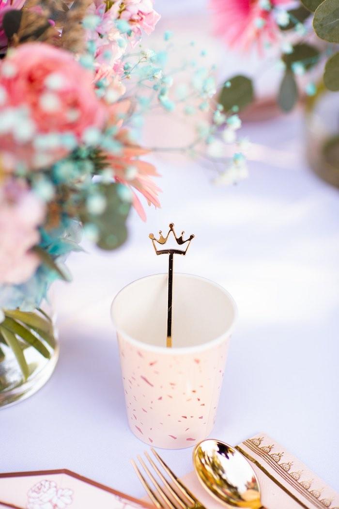 Acrylic Crown Stir Stick + Cup from an Elegant Disney Princess Party on Kara's Party Ideas | KarasPartyIdeas.com (28)