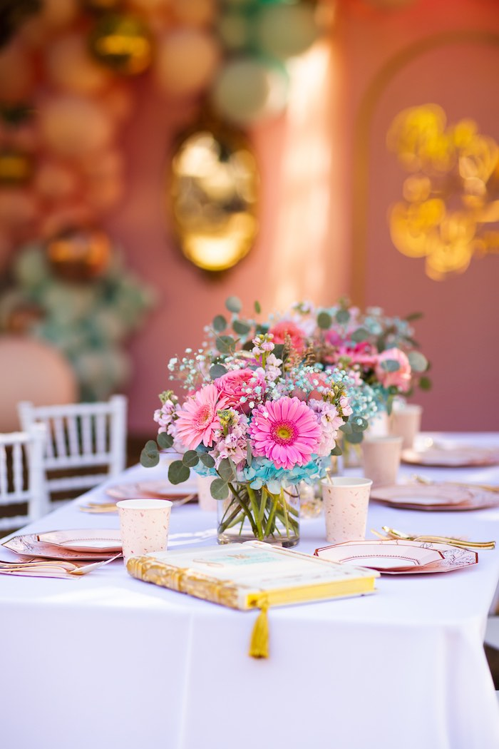 Guest Table from an Elegant Disney Princess Party on Kara's Party Ideas | KarasPartyIdeas.com (26)
