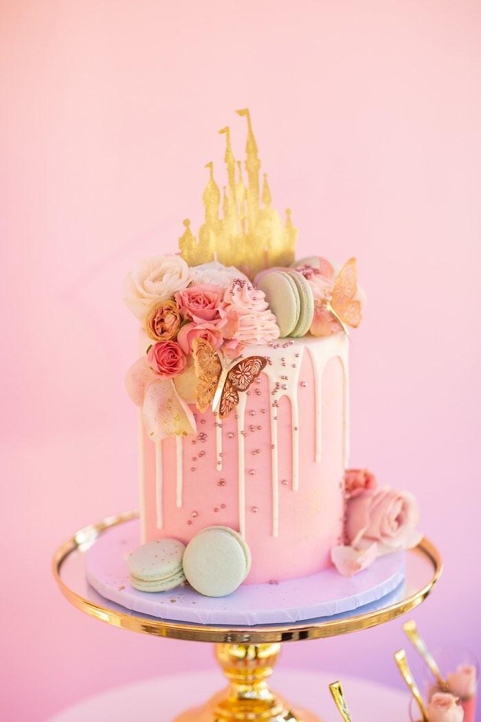 Disney Castle Drip Cake from an Elegant Disney Princess Party on Kara's Party Ideas | KarasPartyIdeas.com (22)