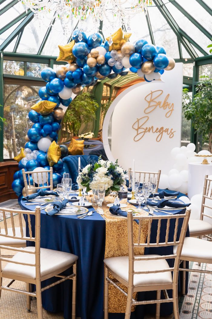 Elegant Galaxy Themed Guest Table from a Galaxy Baby Shower on Kara's Party Ideas | KarasPartyIdeas.com (30)