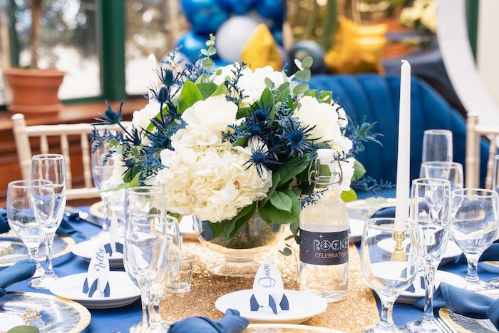 White + Blue Floral Table Centerpiece + Guest Table from a Galaxy Baby Shower on Kara's Party Ideas | KarasPartyIdeas.com (29)