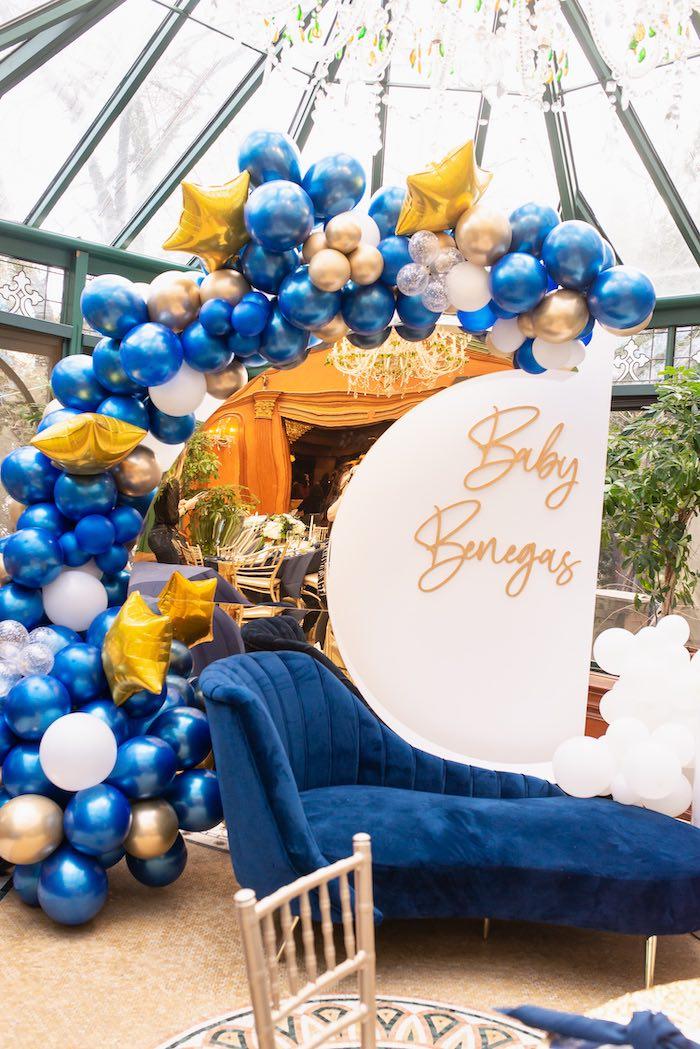 Galaxy Balloon Garland + Crescent Moon Backdrop from a Galaxy Baby Shower on Kara's Party Ideas | KarasPartyIdeas.com (28)