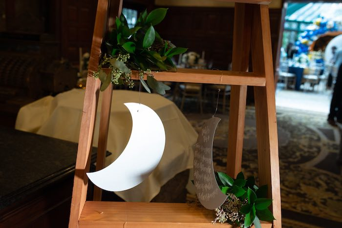 Ladder Seat Chart with Hanging Crescent Moons from a Galaxy Baby Shower on Kara's Party Ideas | KarasPartyIdeas.com (23)