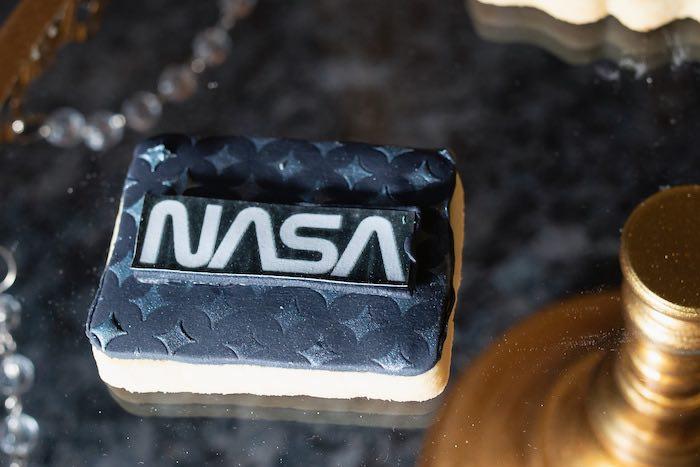 NASA Cookie from a Galaxy Baby Shower on Kara's Party Ideas | KarasPartyIdeas.com (19)