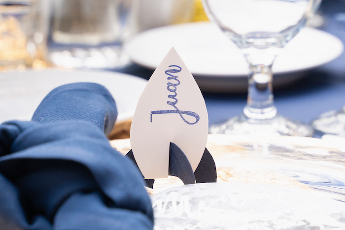 Rocket Place Card from a Galaxy Baby Shower on Kara's Party Ideas | KarasPartyIdeas.com (40)