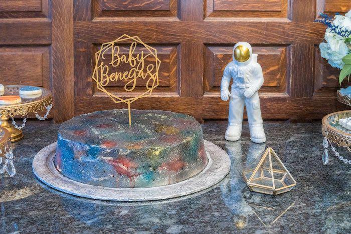 Galaxy-inspired Cake from a Galaxy Baby Shower on Kara's Party Ideas | KarasPartyIdeas.com (8)