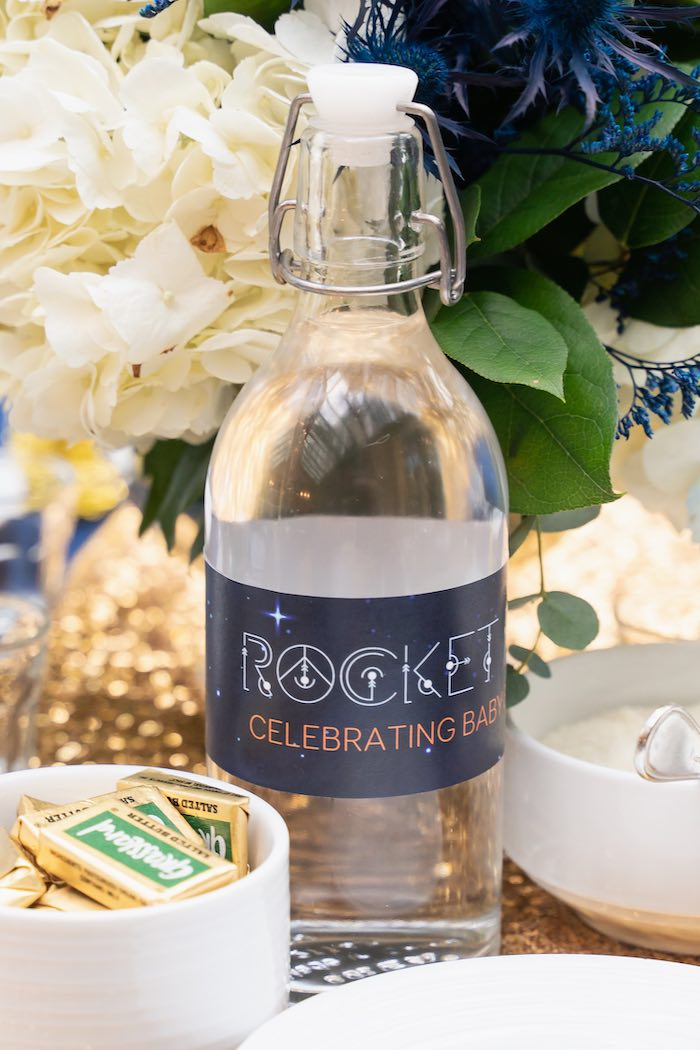 Rocket-inspired Beverage Bottle from a Galaxy Baby Shower on Kara's Party Ideas | KarasPartyIdeas.com (39)