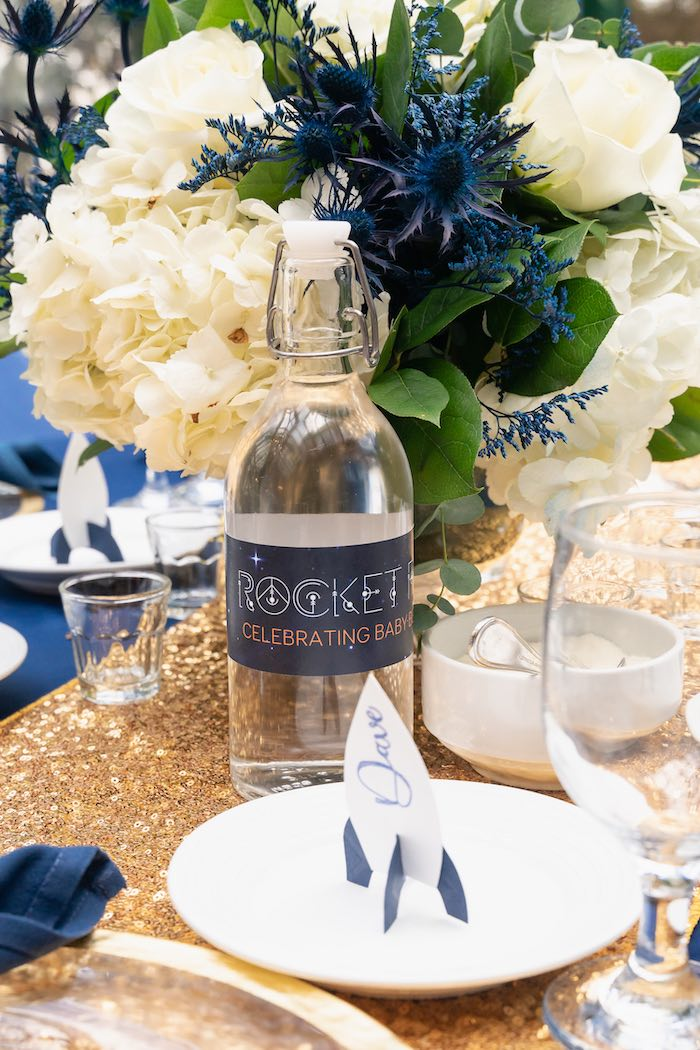 Rocket-inspired Beverage Bottle from a Galaxy Baby Shower on Kara's Party Ideas | KarasPartyIdeas.com (34)