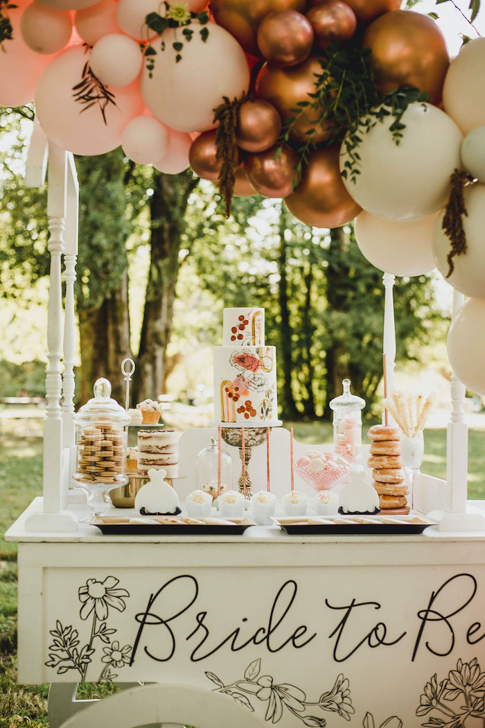 Dessert Cart from a Glam Bridal Shower Picnic on Kara's Party Ideas | KarasPartyIdeas.com (27)