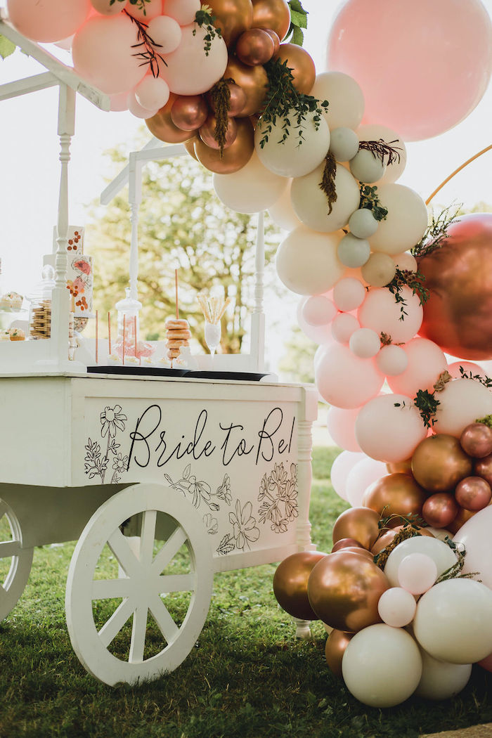 Bride to Be Dessert Cart from a Glam Bridal Shower Picnic on Kara's Party Ideas | KarasPartyIdeas.com (26)