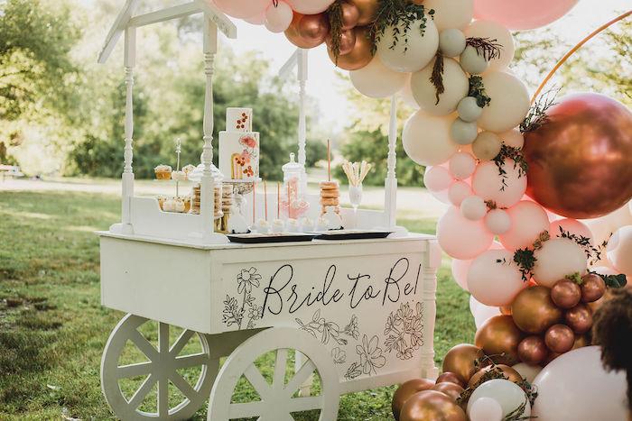 White Dessert Cart from a Glam Bridal Shower Picnic on Kara's Party Ideas | KarasPartyIdeas.com (25)