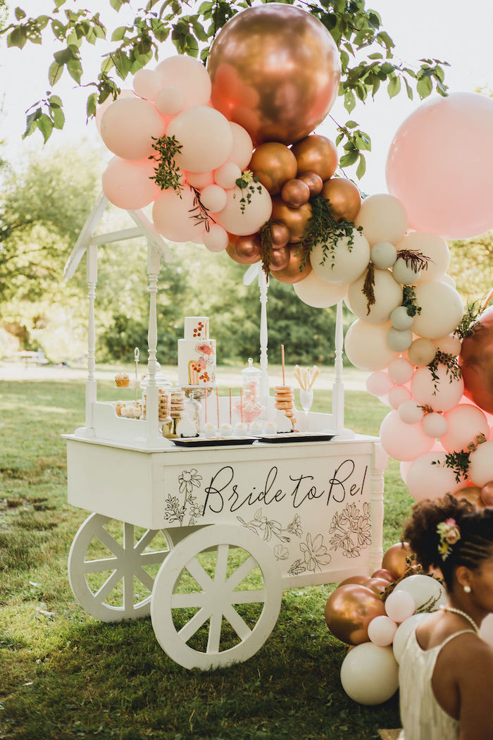 Balloon-adorned Bride to Be Dessert Cart from a Glam Bridal Shower Picnic on Kara's Party Ideas | KarasPartyIdeas.com (24)