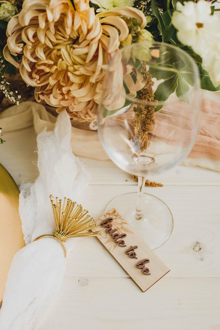 Scripted Wood Place Card from a Glam Bridal Shower Picnic on Kara's Party Ideas | KarasPartyIdeas.com (21)